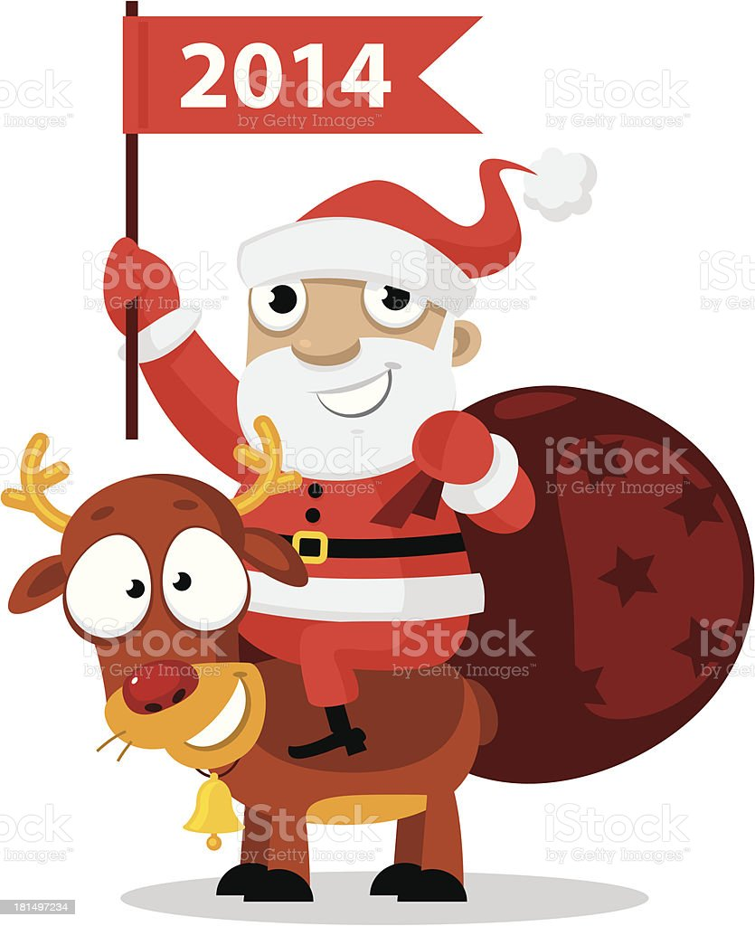 Santa Claus riding a reindeer royalty-free stock vector art