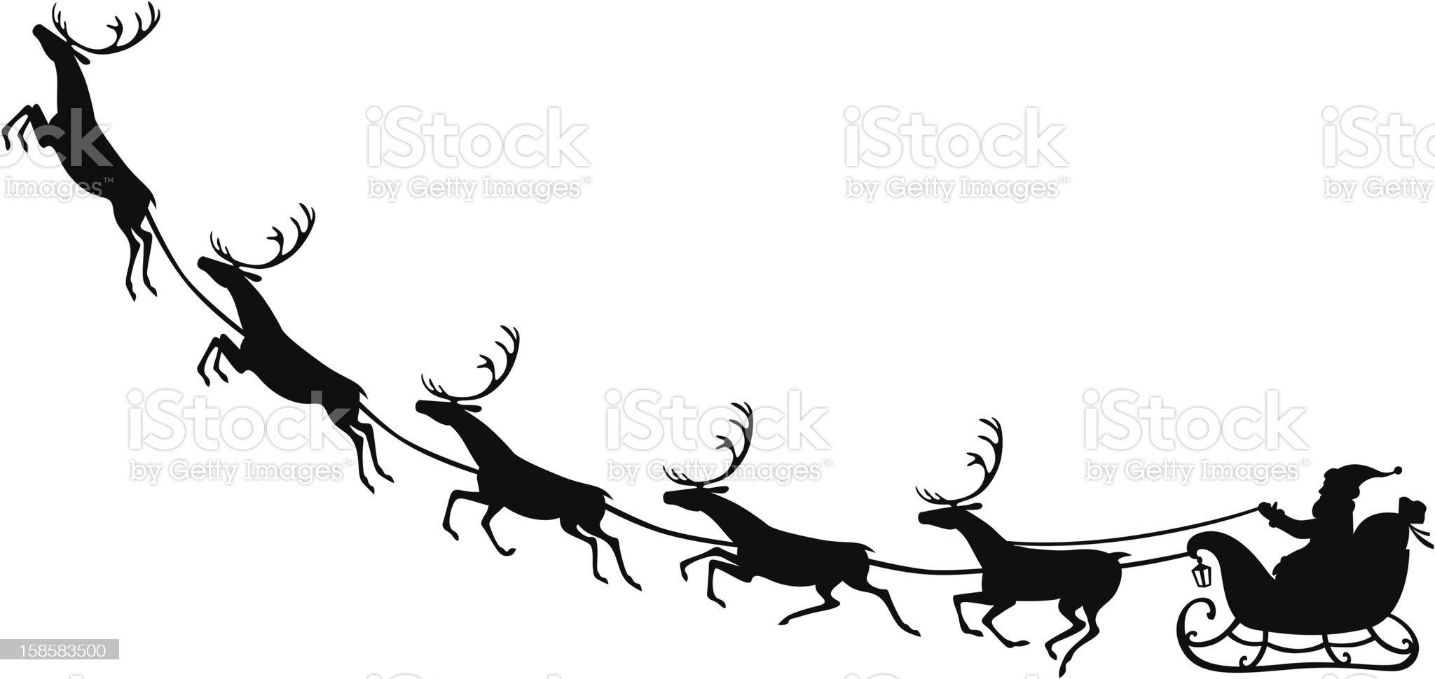 Santa Claus riding on a reindeer sleigh royalty-free stock vector art