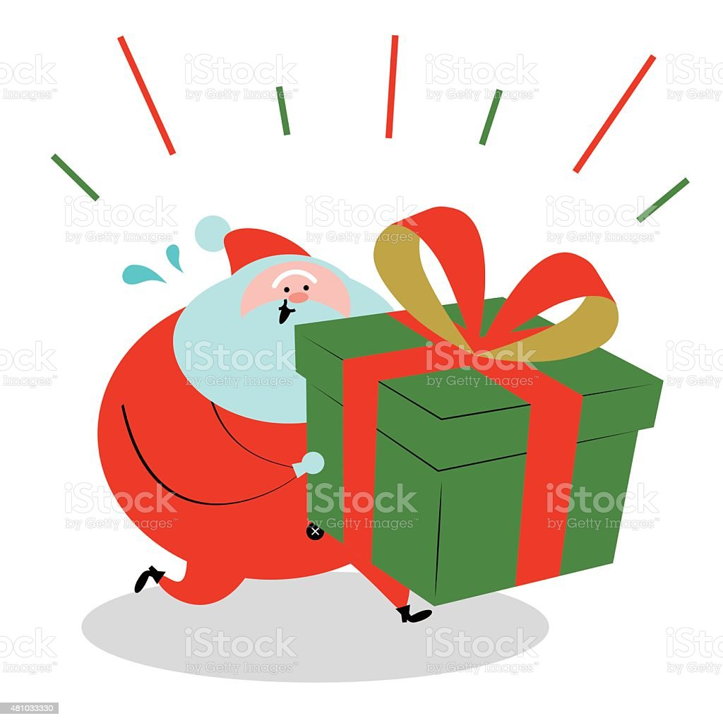 Santa Claus running and holding (carrying) a big Christmas present vector art illustration