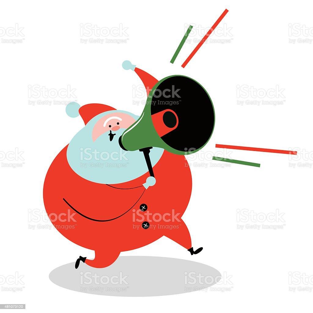 Santa Claus running and holding Megaphone vector art illustration