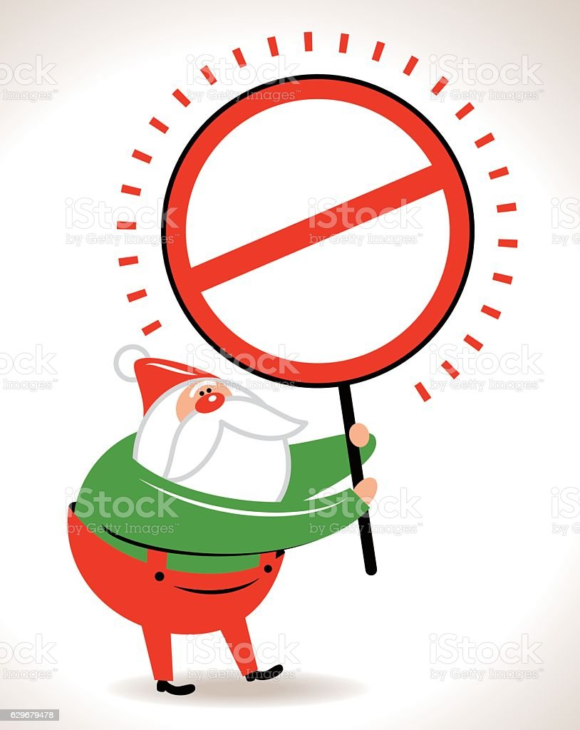 Santa Claus showing a empty prohibition sign vector art illustration