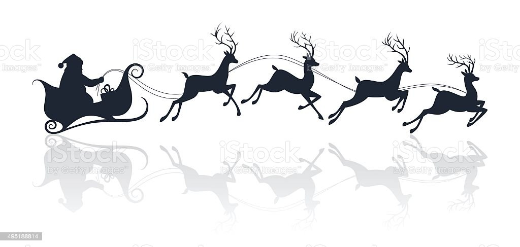 Santa Claus silhouette riding a sleigh with deers vector art illustration