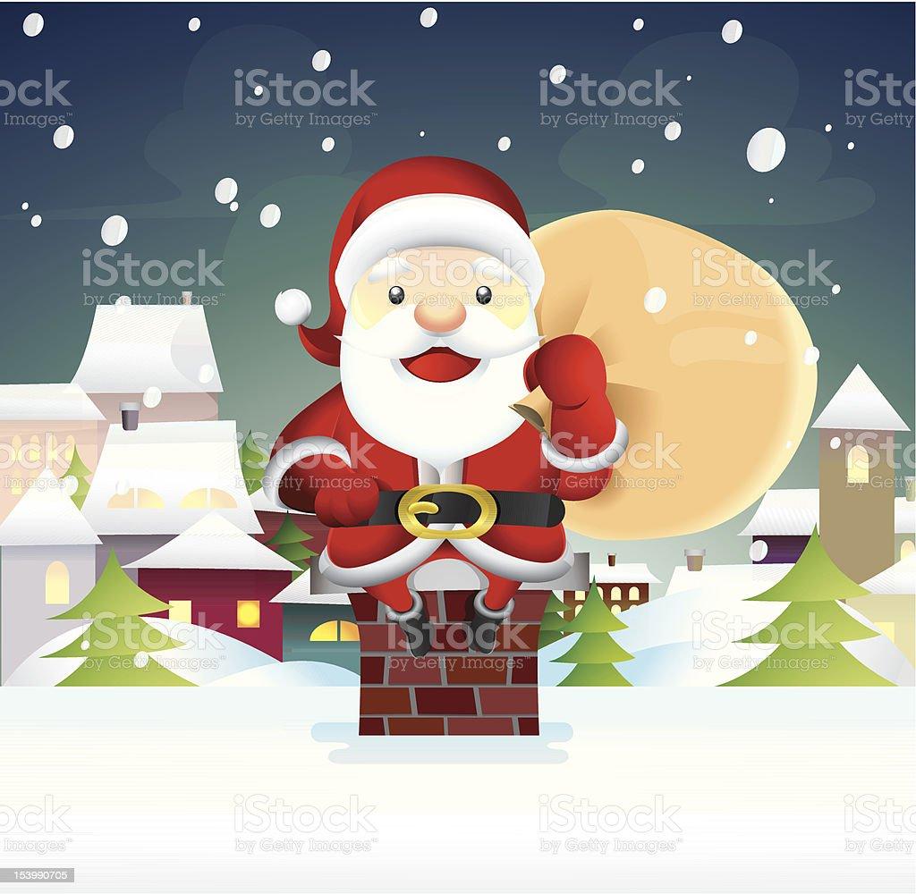 Santa Claus sit on a chimney vector art illustration