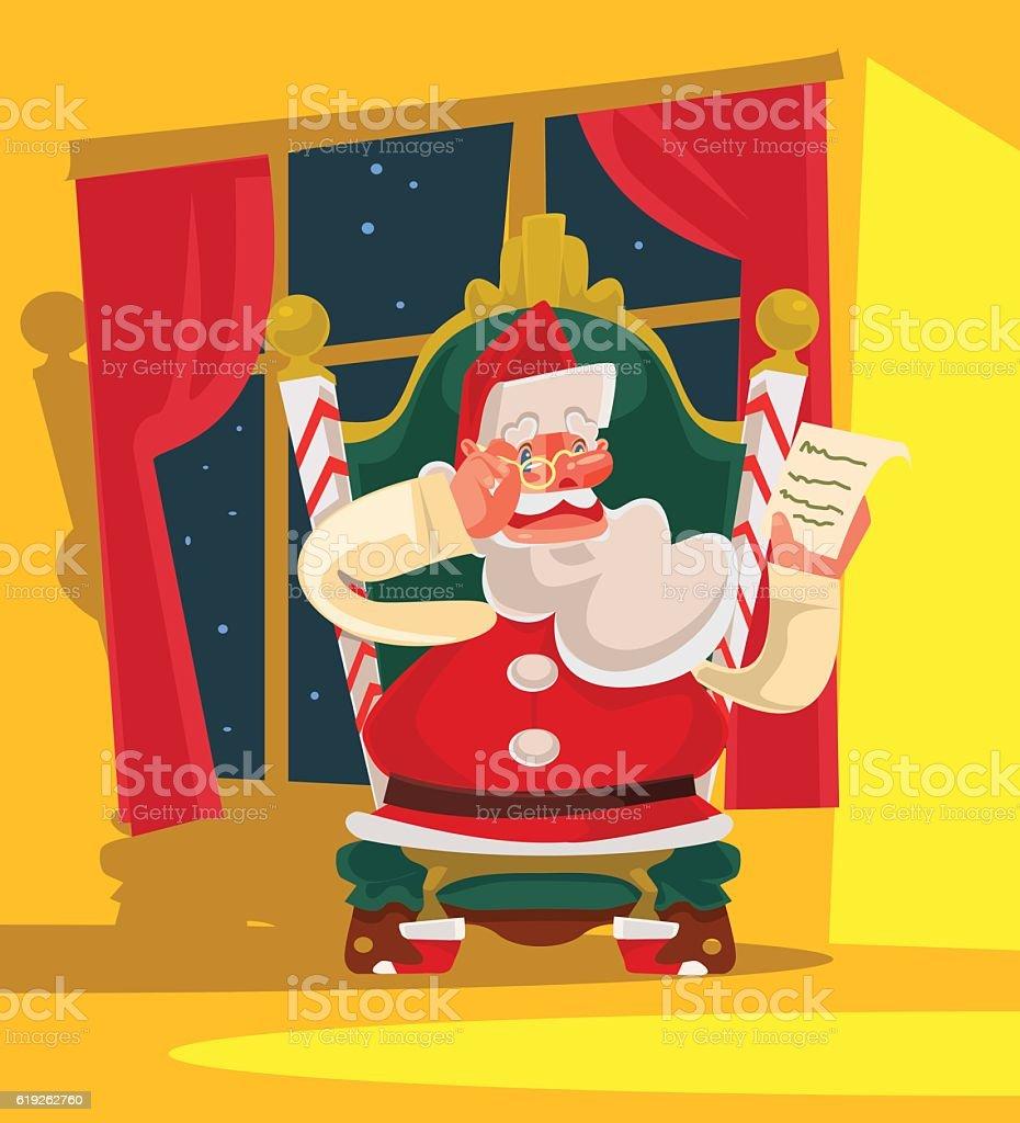 Santa Claus sitting on armchair and reading children wish list vector art illustration