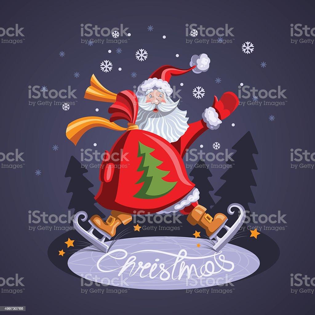 Santa Claus skating with a bag of gifts vector art illustration