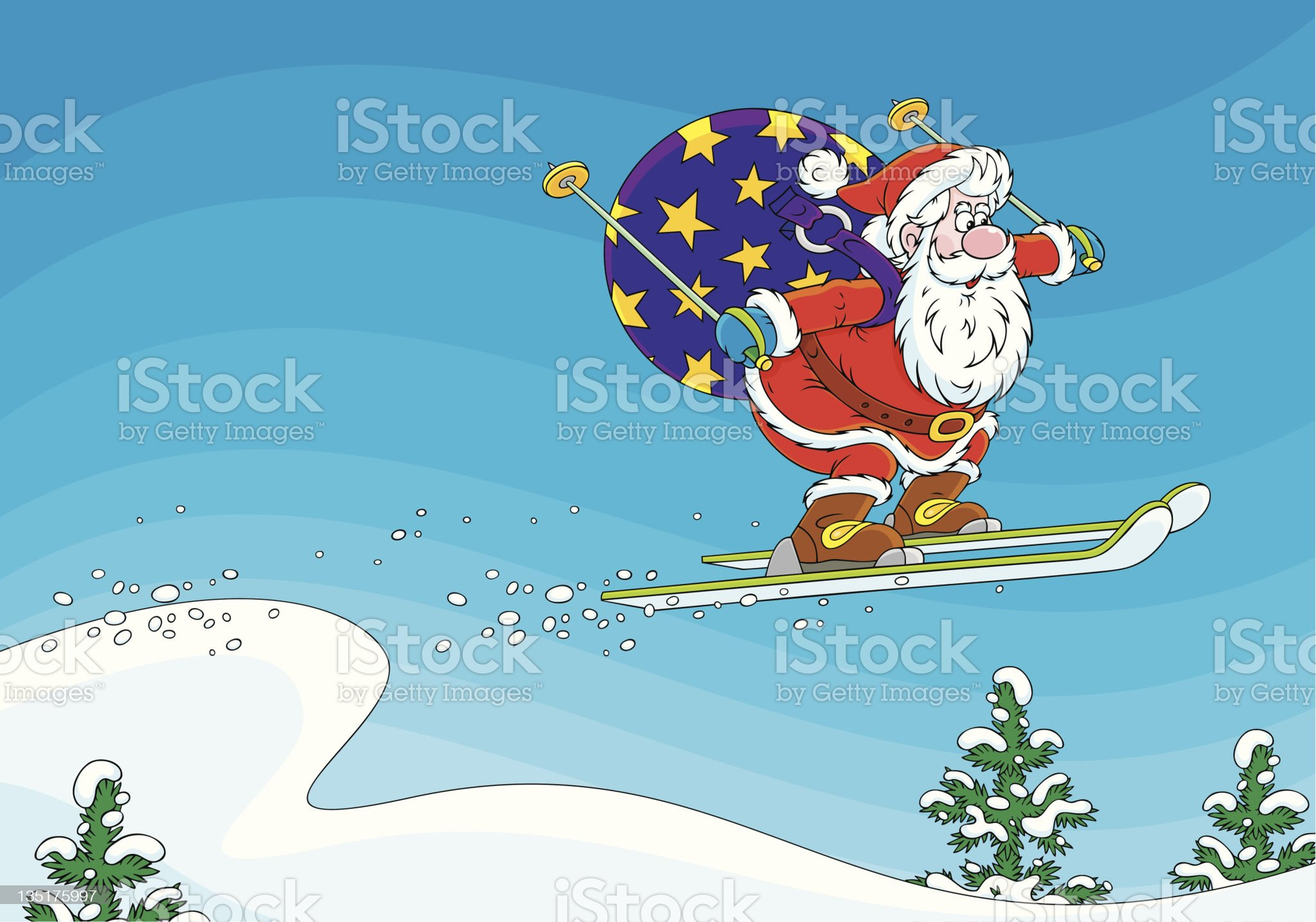 Santa Claus ski jumper royalty-free stock vector art