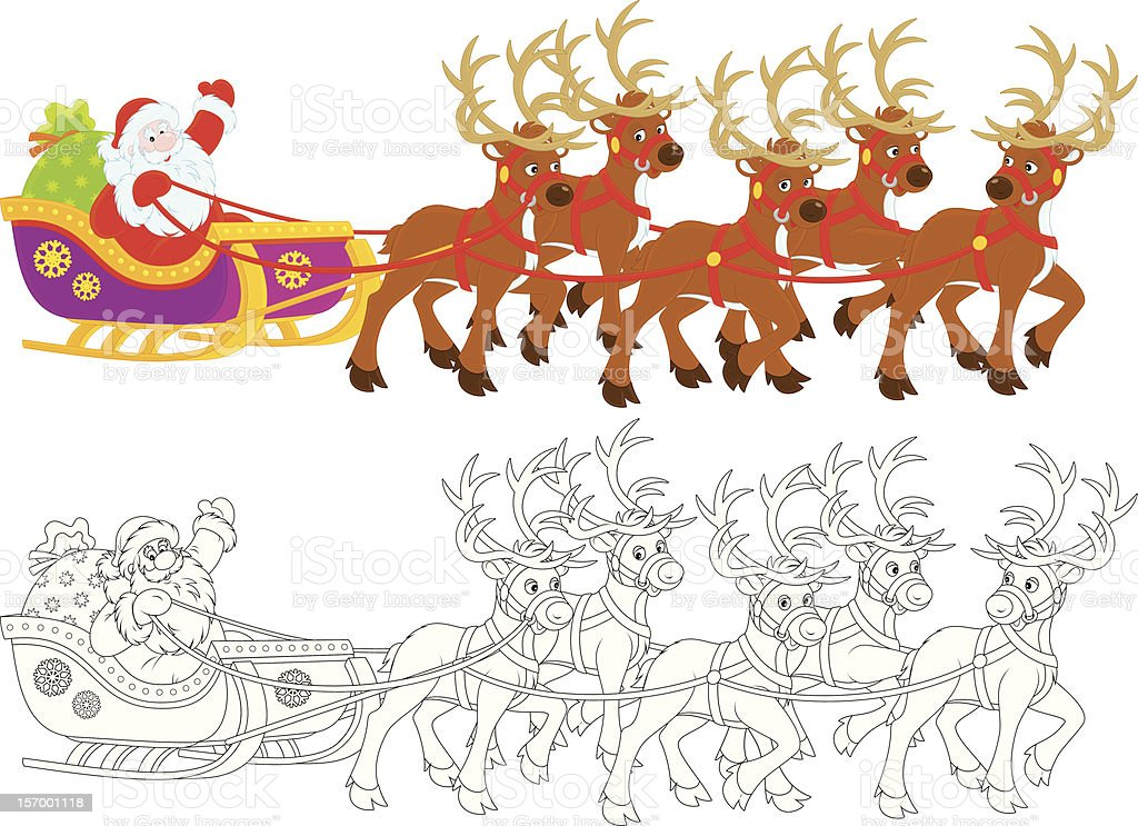 Santa Claus sledding royalty-free stock vector art