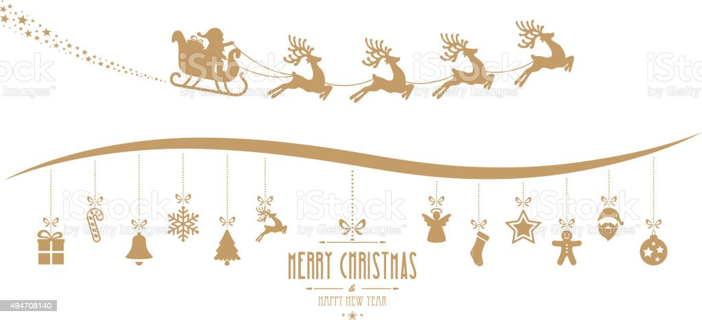 santa claus sleigh christmas elements hanging gold isolated background vector art illustration