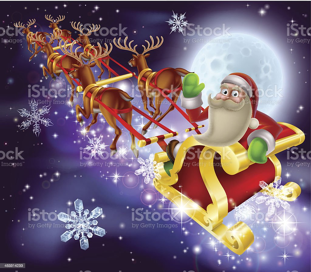 Santa Claus Sleigh Christmas Scene royalty-free stock vector art