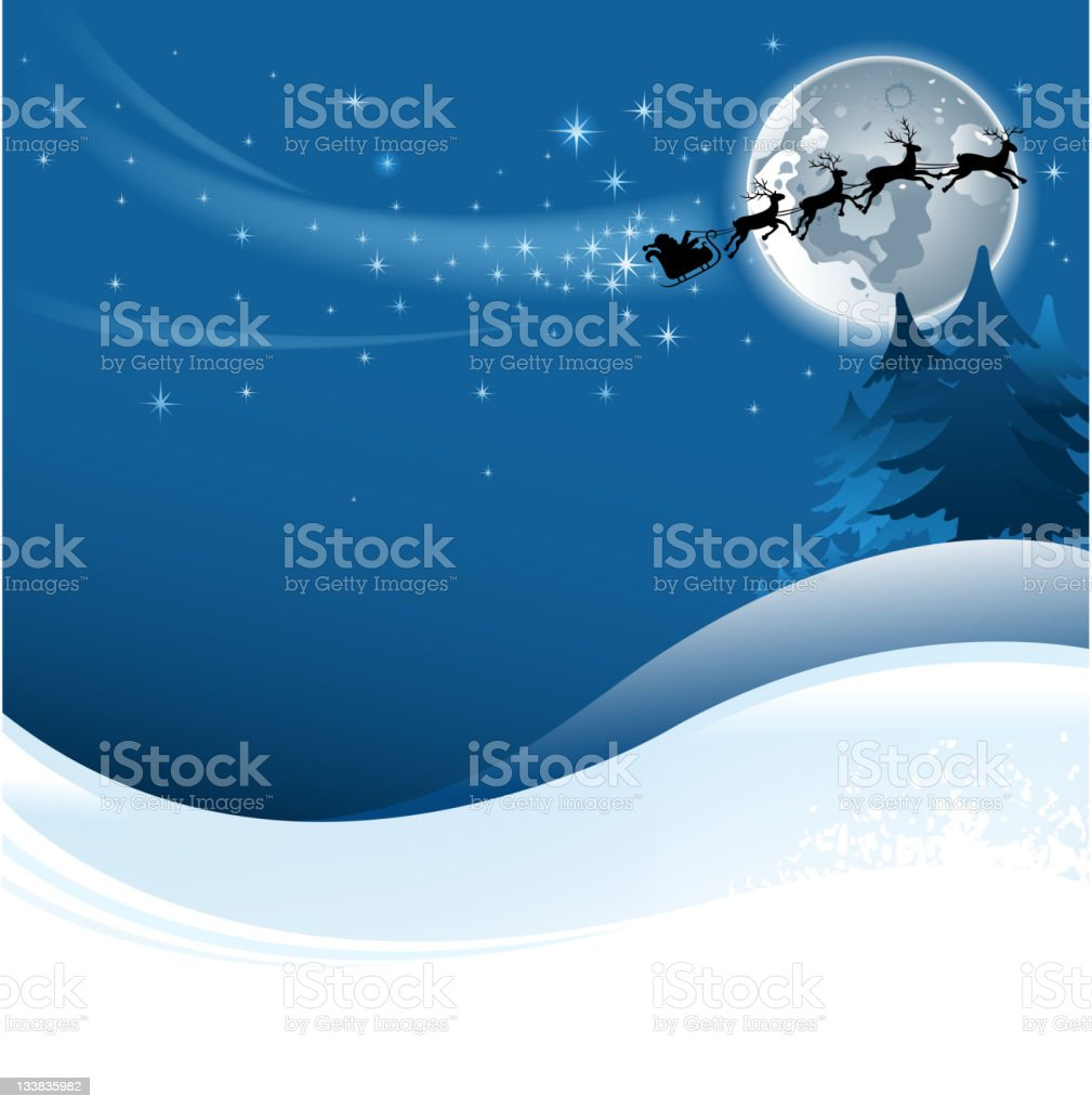 santa claus sleigh on night stock photo