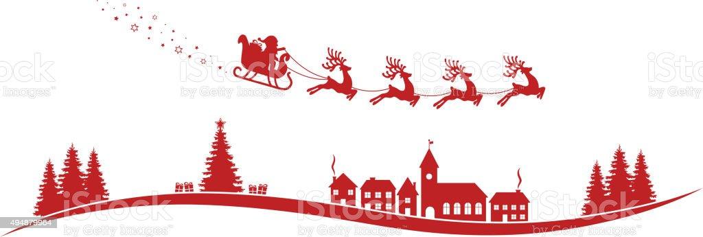 santa claus sleigh reindeer fly red landscape vector art illustration