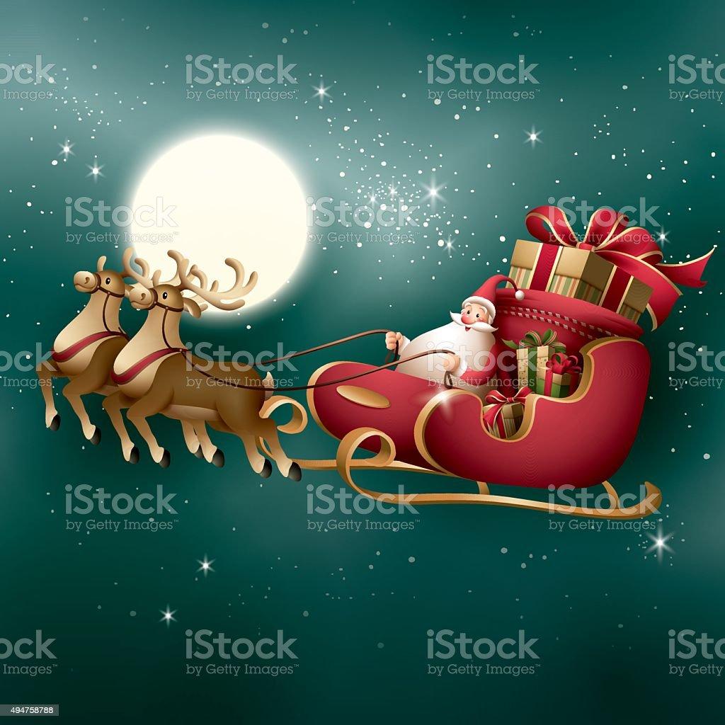 Santa Claus - sleigh ride vector art illustration