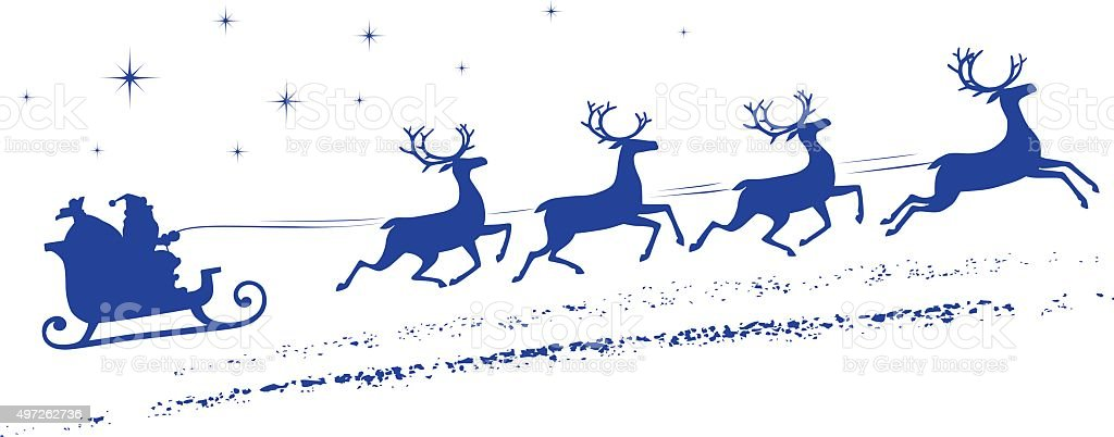 Santa Claus sleigh vector art illustration