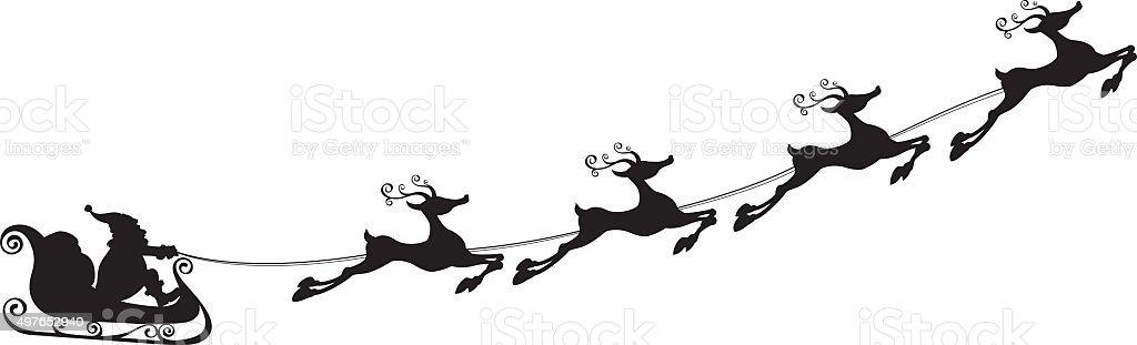 Santa Claus Sleigh vector art illustration
