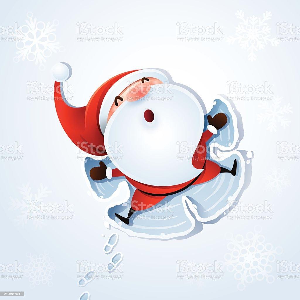 Santa Claus - Snow angel vector art illustration