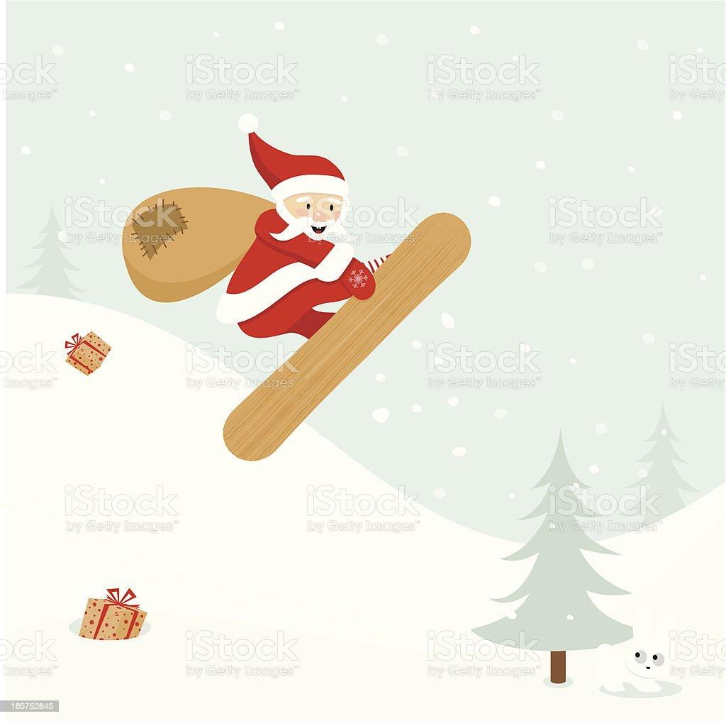 Santa Claus snowboarder vector art illustration