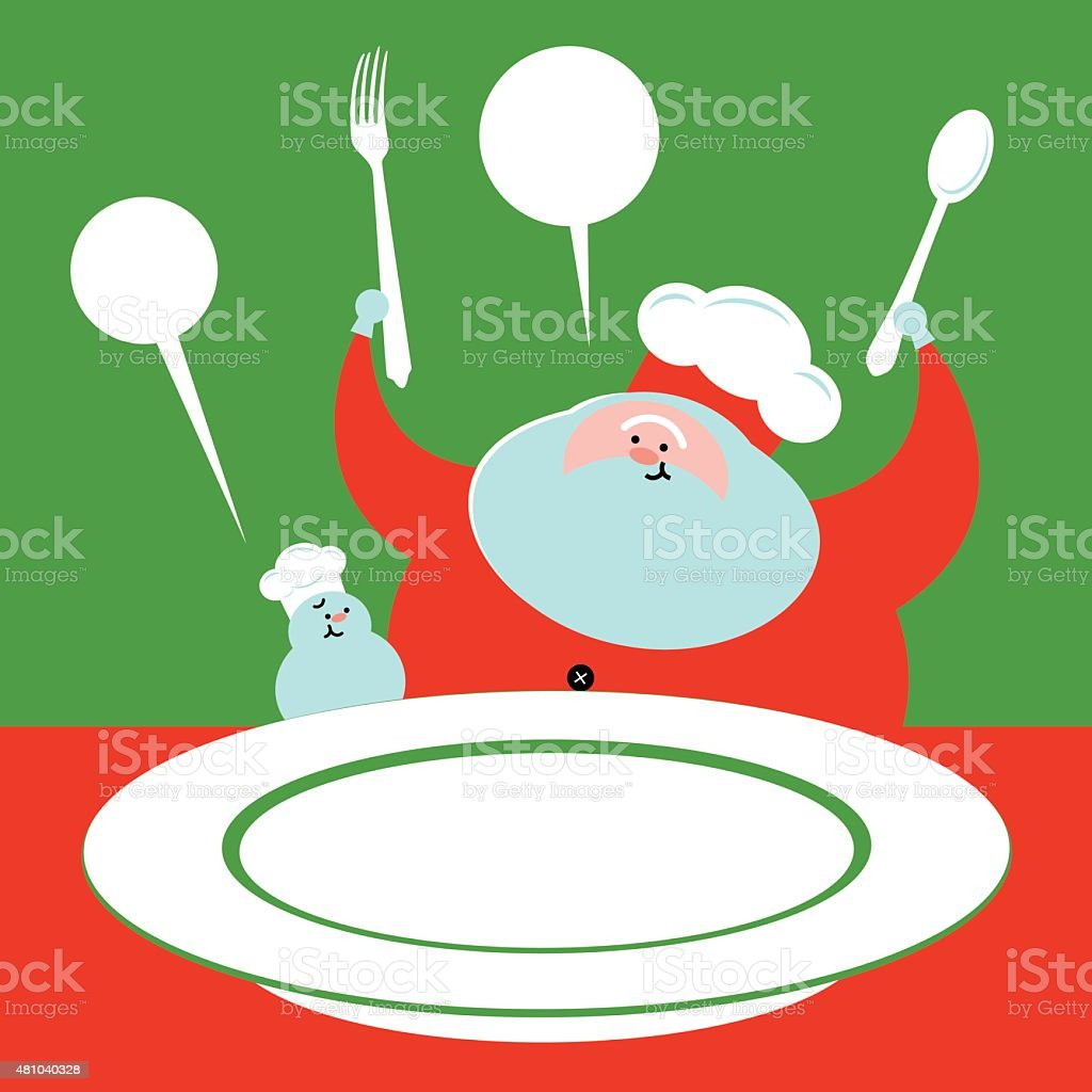 Santa Claus snowman cook chef with fork, spoon, food plate vector art illustration
