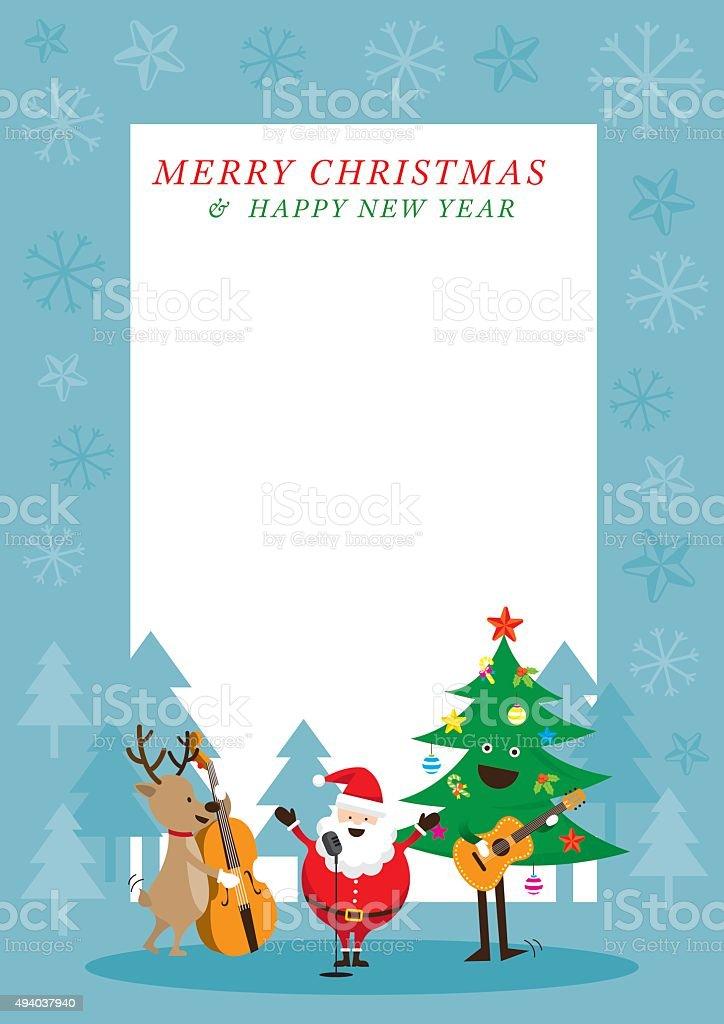 Santa Claus, Snowman, Reindeer, Playing Music Frame vector art illustration