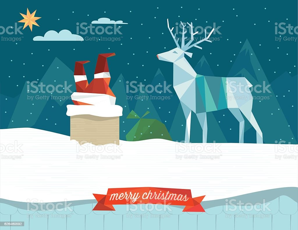santa claus stacking in the chimney with reindeer on roof vector art illustration