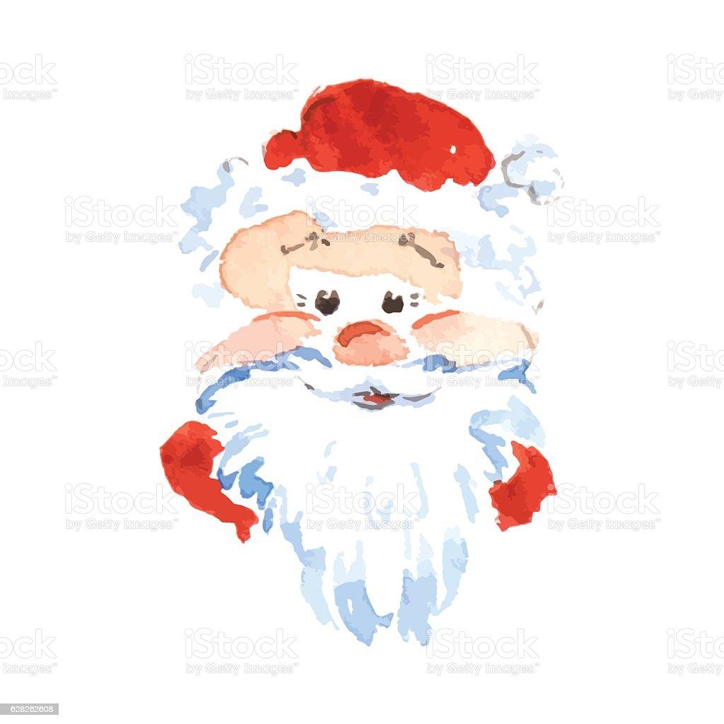 Santa Claus sticker icon in the watercolor technique. Vector illustration vector art illustration
