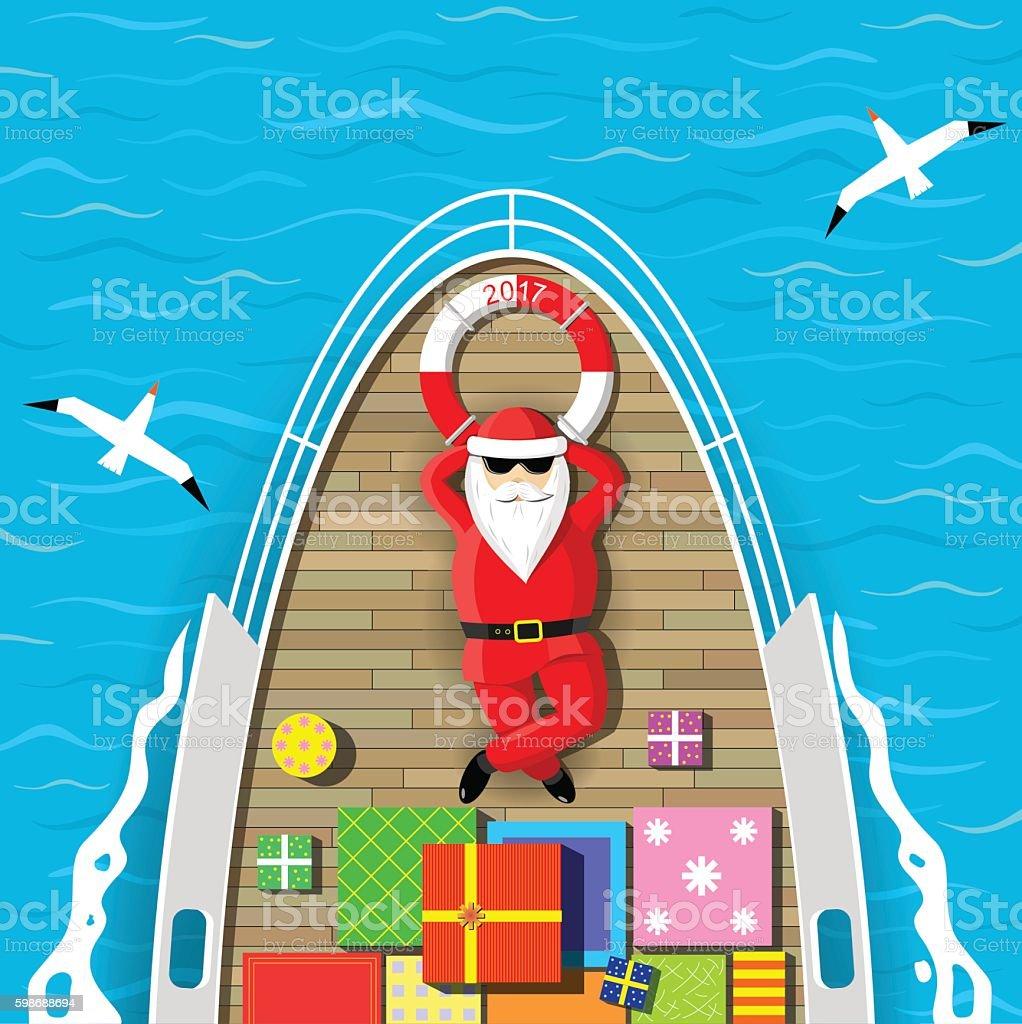Santa Claus swimming on a yacht vector art illustration