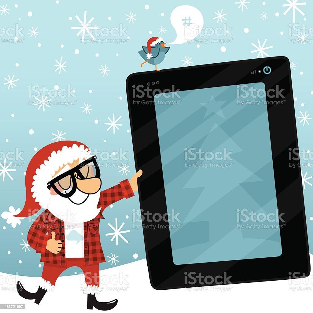 Santa Claus tablet bluebird geek internet christmas social media vector art illustration