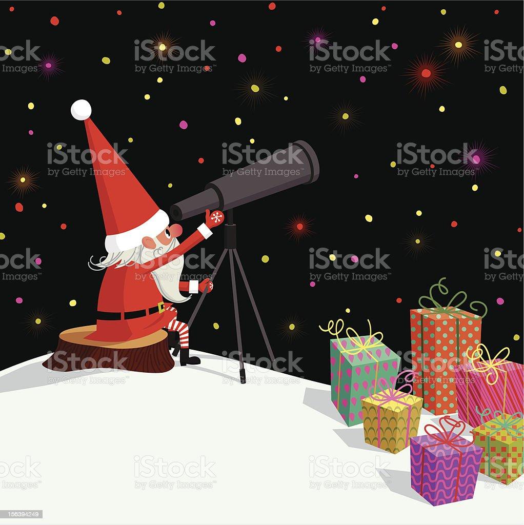 Santa Claus, Telescope and Gifts. vector art illustration