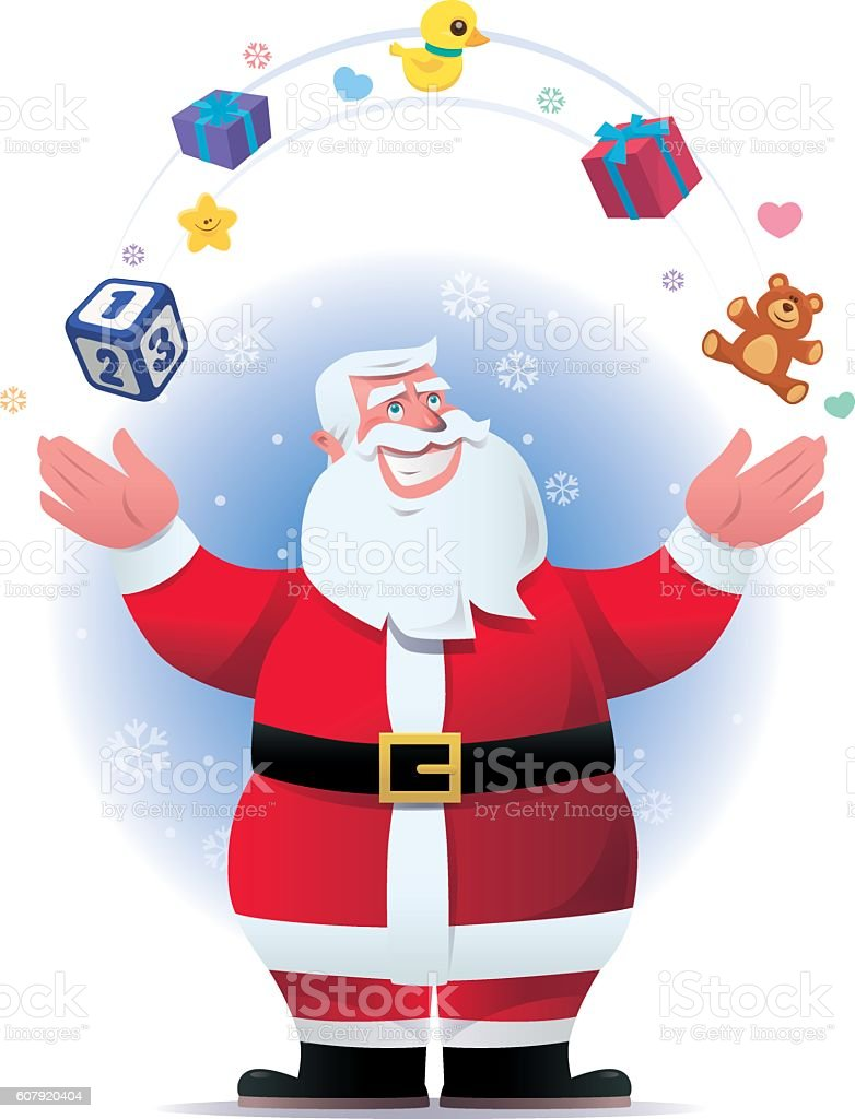 santa claus throwing gifts and toys vector art illustration