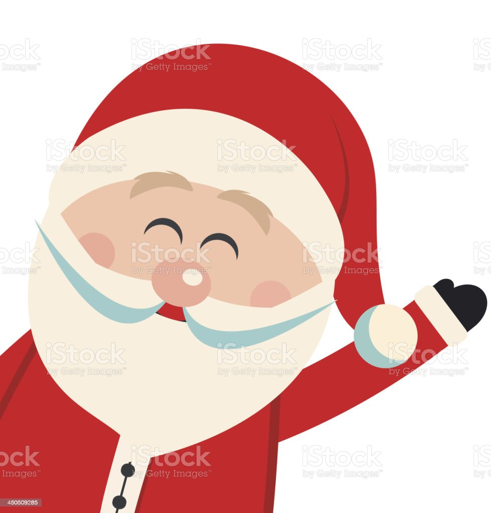 santa claus wave isolated background vector art illustration