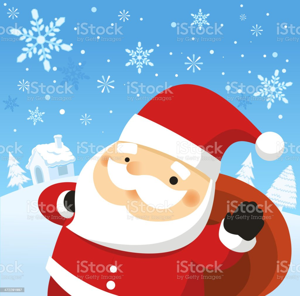 Santa Claus Waving with Snowy Landscape royalty-free stock vector art