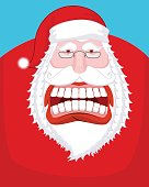 Santa Claus wild grin. Aggressive old man. Open your mouth