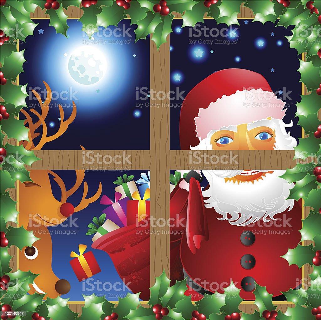 santa claus window reindeer christmas vector illustration stock