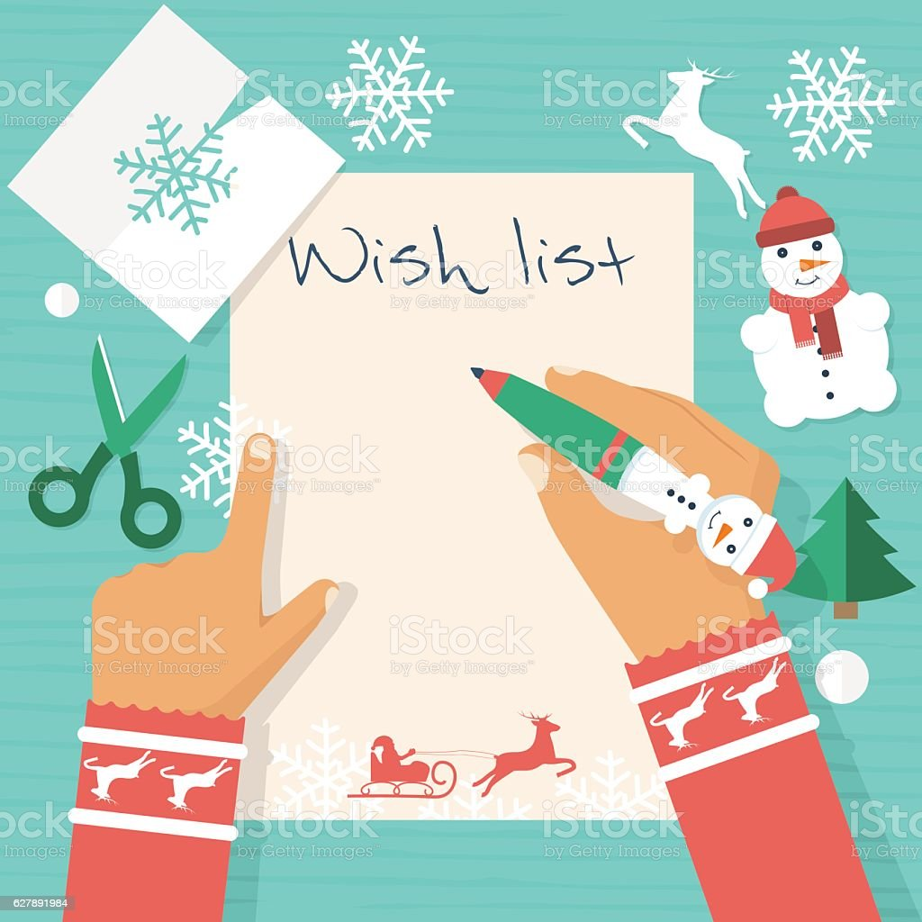 Santa Claus wish list vector art illustration