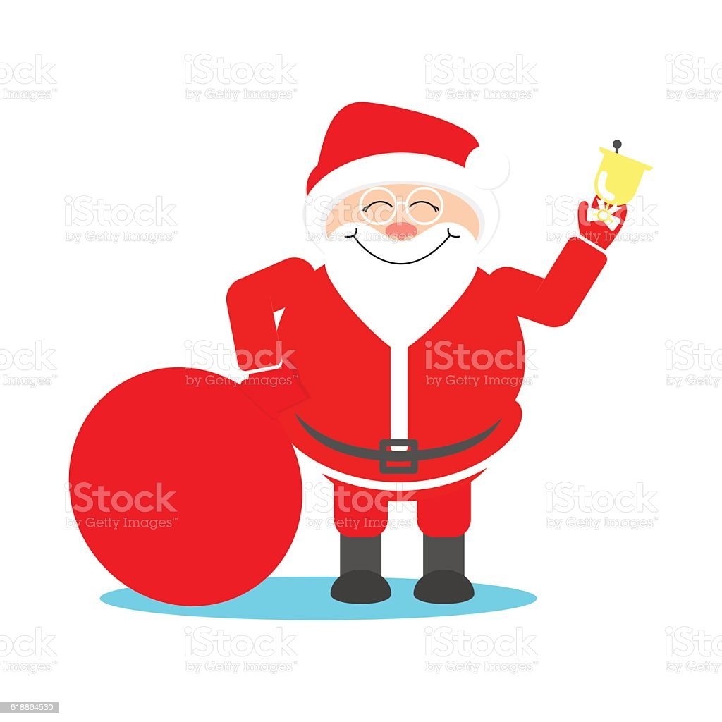Santa Claus with a bag of gifts rings the bell vector art illustration