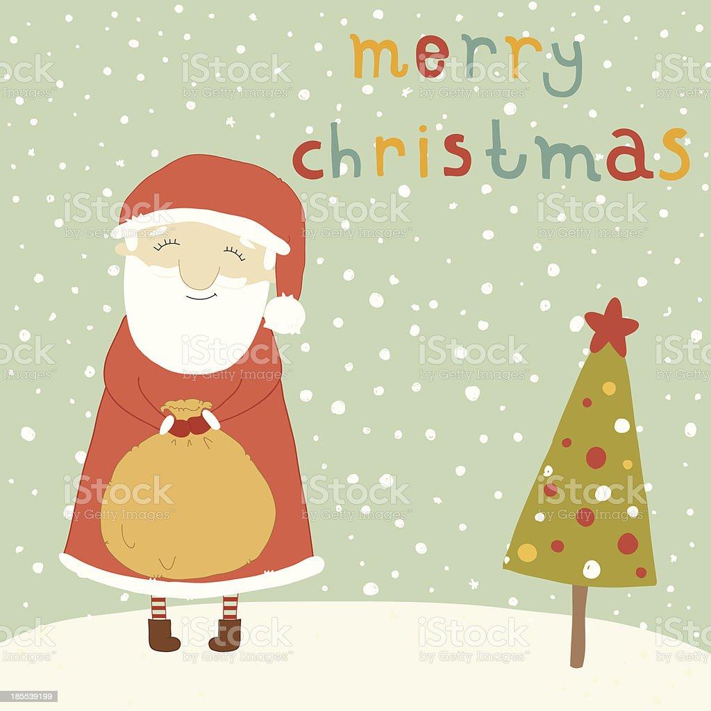 Santa Claus with a magical bag royalty-free stock vector art