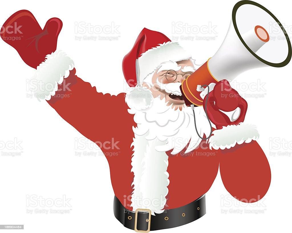 Santa Claus with a megaphone vector art illustration