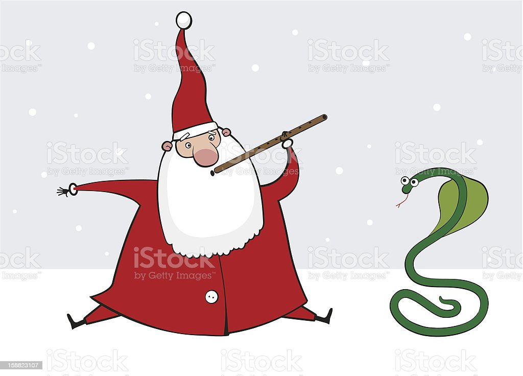 Santa Claus with a snake. Vector illustration royalty-free stock vector art