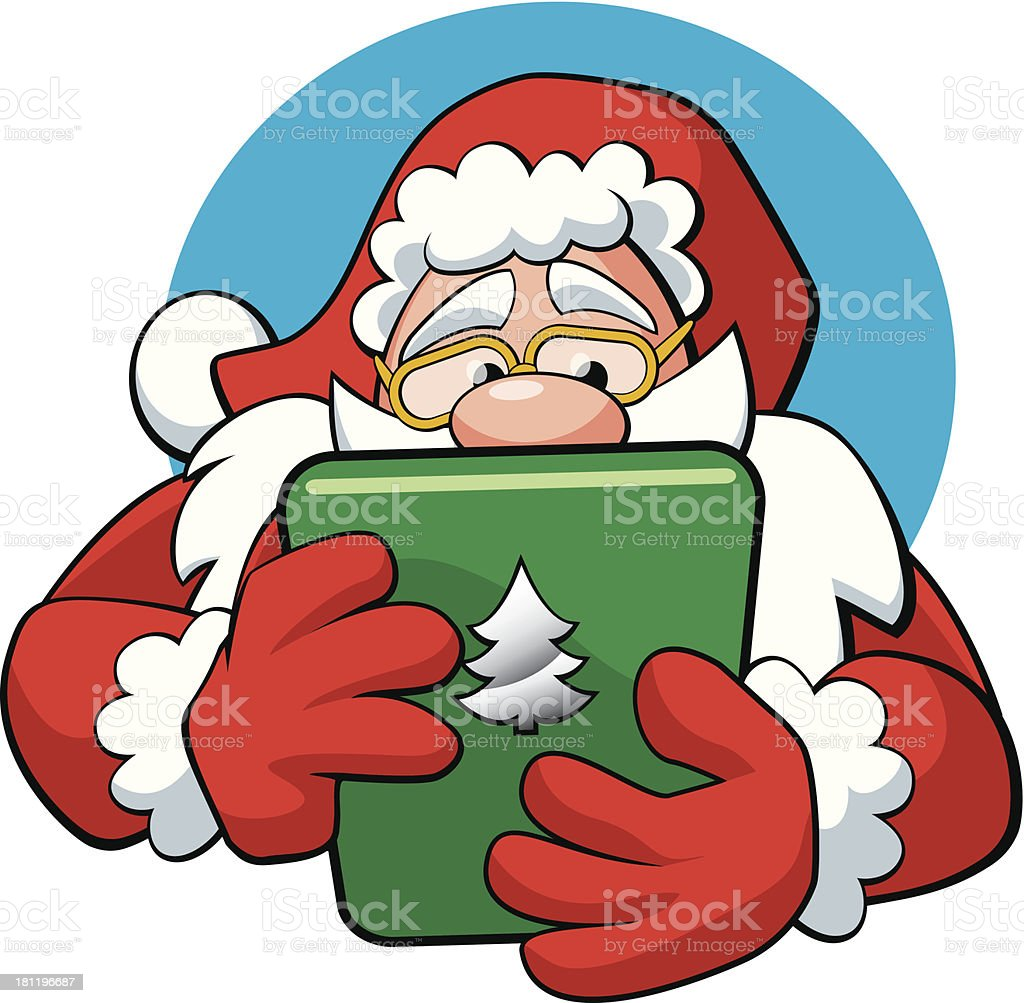 Santa Claus With A Tablet royalty-free stock vector art
