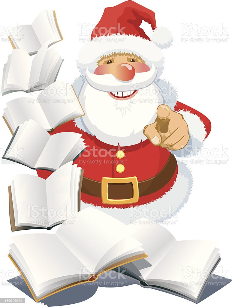 Santa Claus with books royalty-free stock vector art