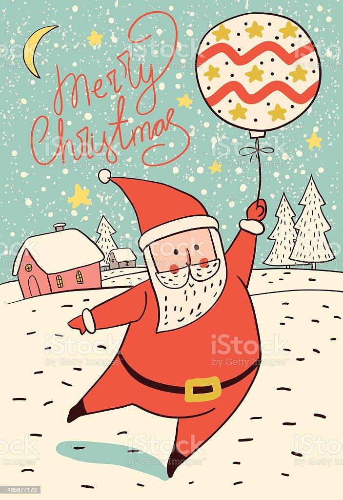 Santa Claus with christmas ball. Christmas card. royalty-free stock vector art