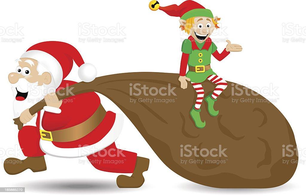 santa claus with christmas elf vector art illustration