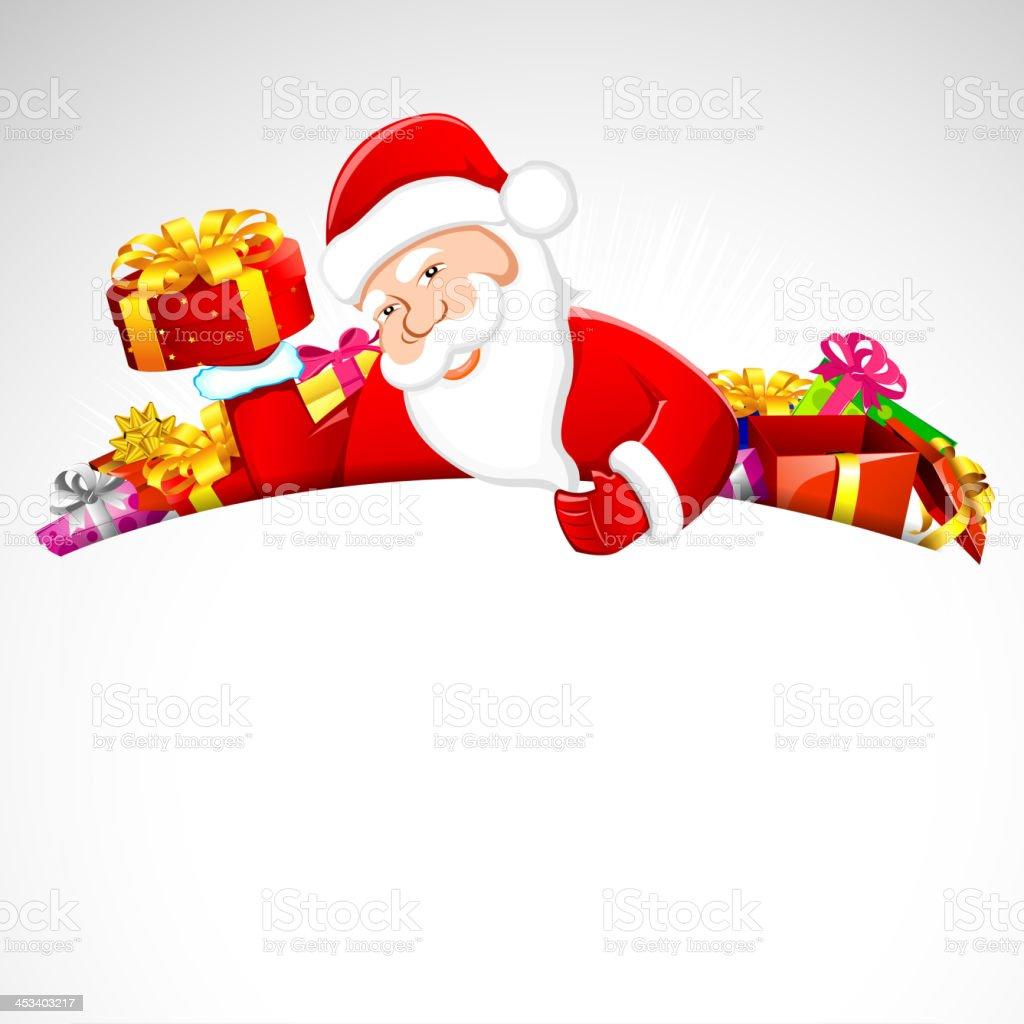 Santa Claus with Christmas Gift royalty-free stock vector art