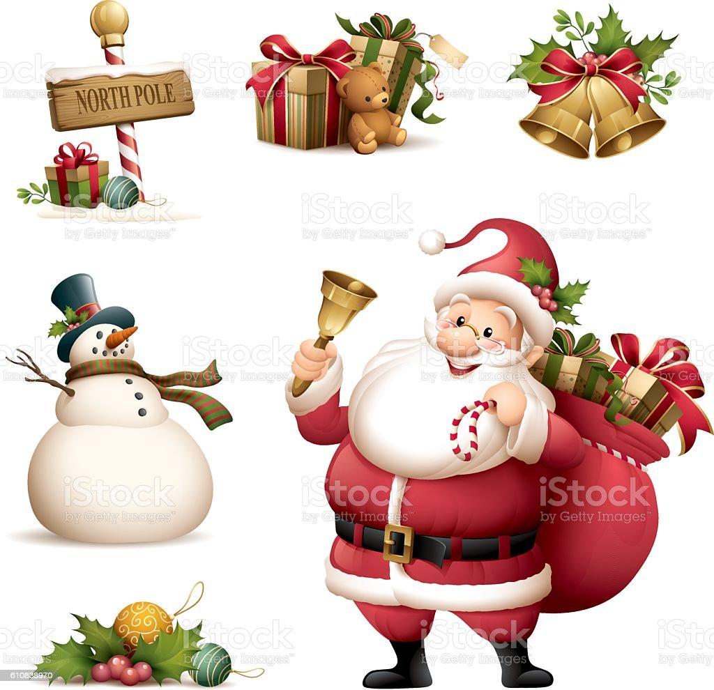 Santa Claus with Christmas icon set vector art illustration