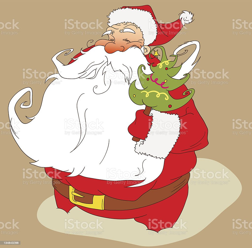 Santa Claus with Christmas tree royalty-free stock vector art