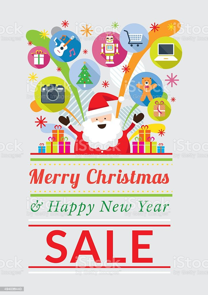 Santa Claus with Gift Icons, Sale Event vector art illustration