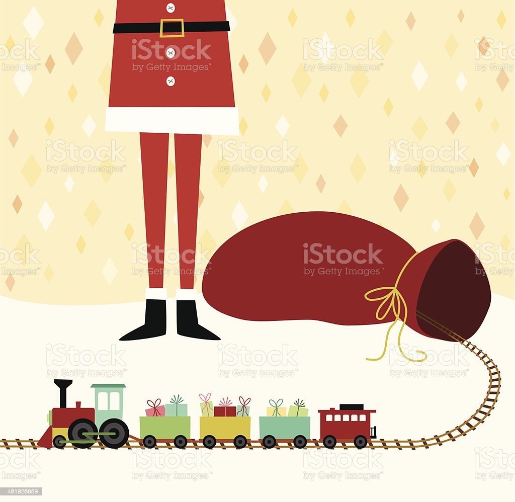 Santa Claus with gift sack and toy train vector art illustration