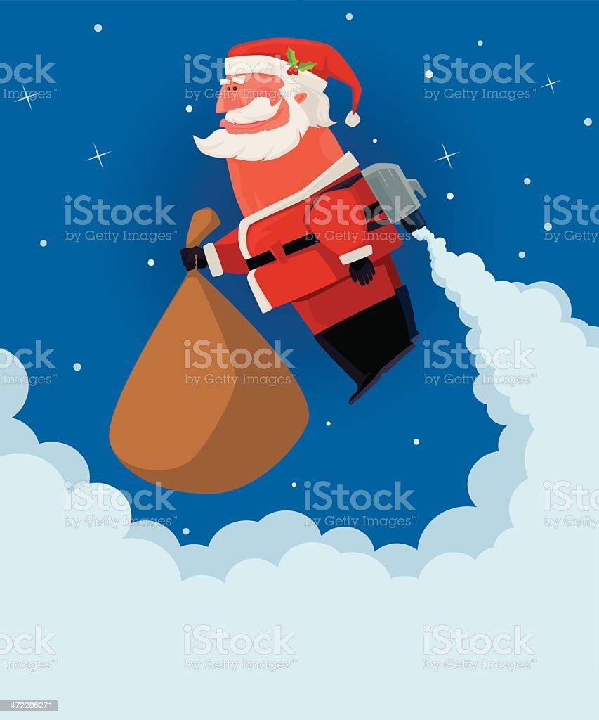 santa claus with jetpack vector art illustration