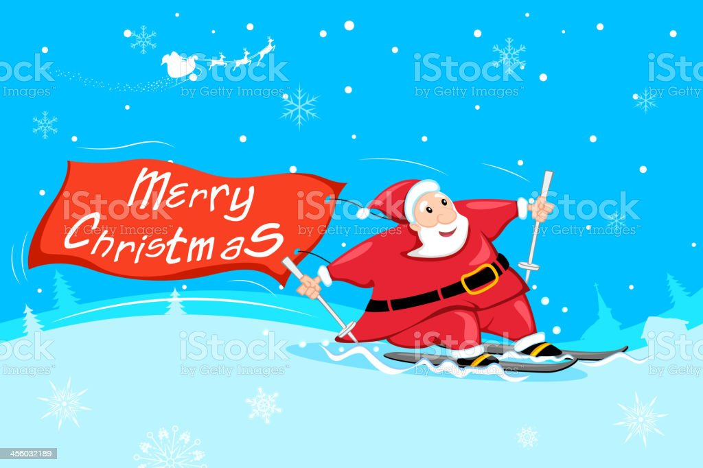 Santa Claus with Merry Christmas royalty-free stock vector art