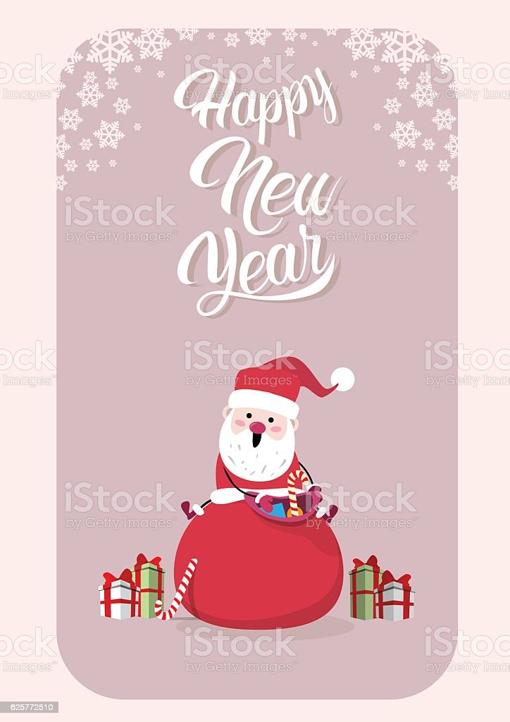 Santa Claus With Present Sack Merry Christmas Greeting Card Happy vector art illustration