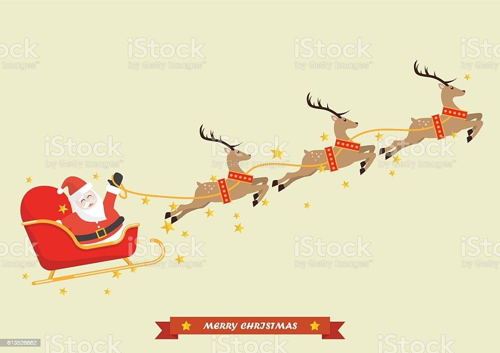 Santa Claus with Reindeer Sleigh vector art illustration